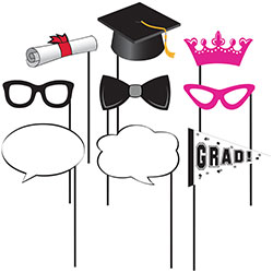 This is an awesome photo booth prop set! It includes 10 graduation themed props for you to capture countless memories at your graduation!