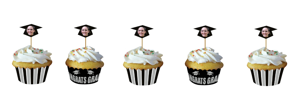 The perfect way to personalize your party on a budget! These cupcake wrappers let you put your picture inside them!