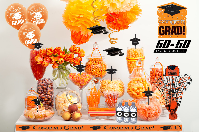 This awesome orange school colored candy buffet will be an awesome way to feed your guests and feed their sweet tooths!